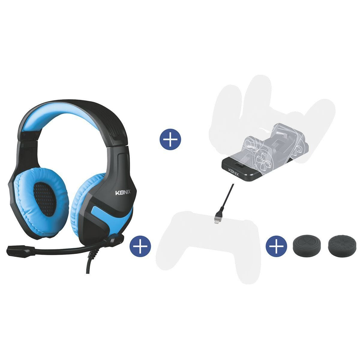 Konix Mythics Gamer Pack for PS4 - PS-400 Headset + Dual Charge Base + PS4 Pad Cable + 2 Thumb Grips