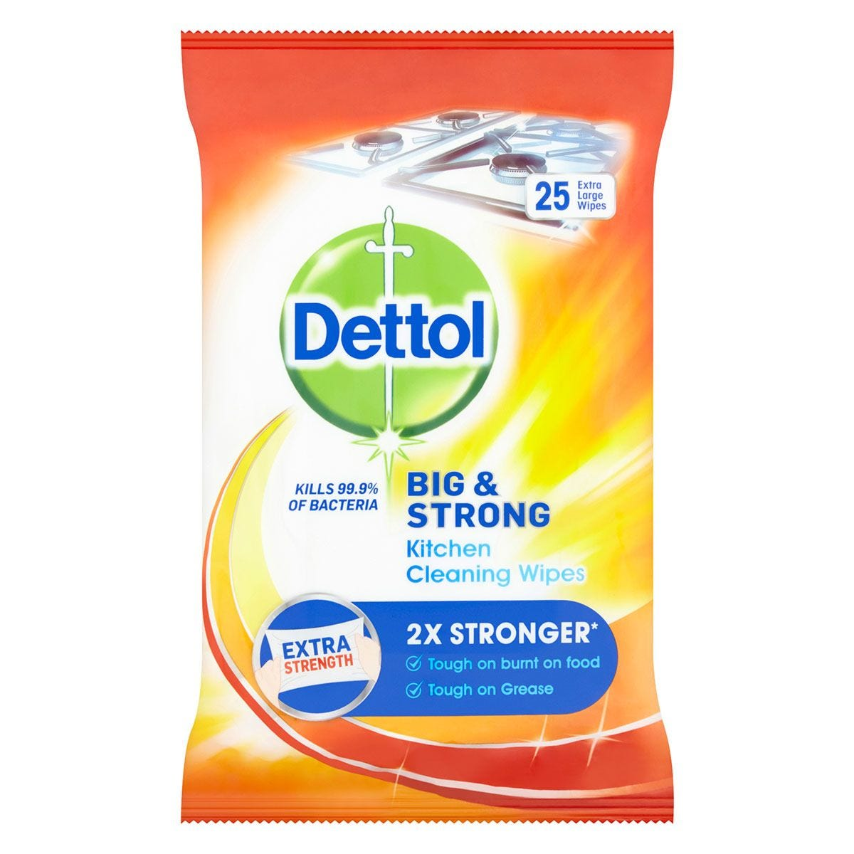 Dettol Big & Strong Antibacterial Kitchen Wipes - 25 Pack
