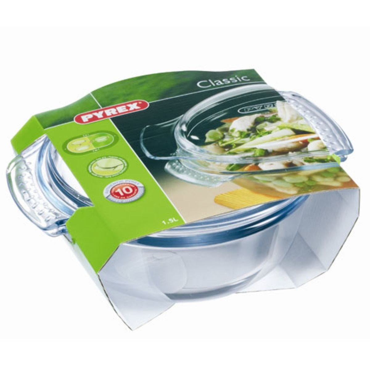 Pyrex Round Glass Casserole with Lid - 2.1L