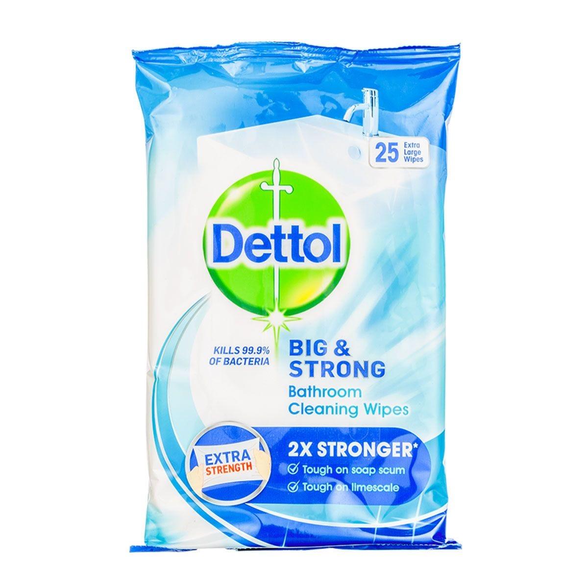 Dettol Big & Strong Antibacterial Bathroom Wipes - 25 Pack