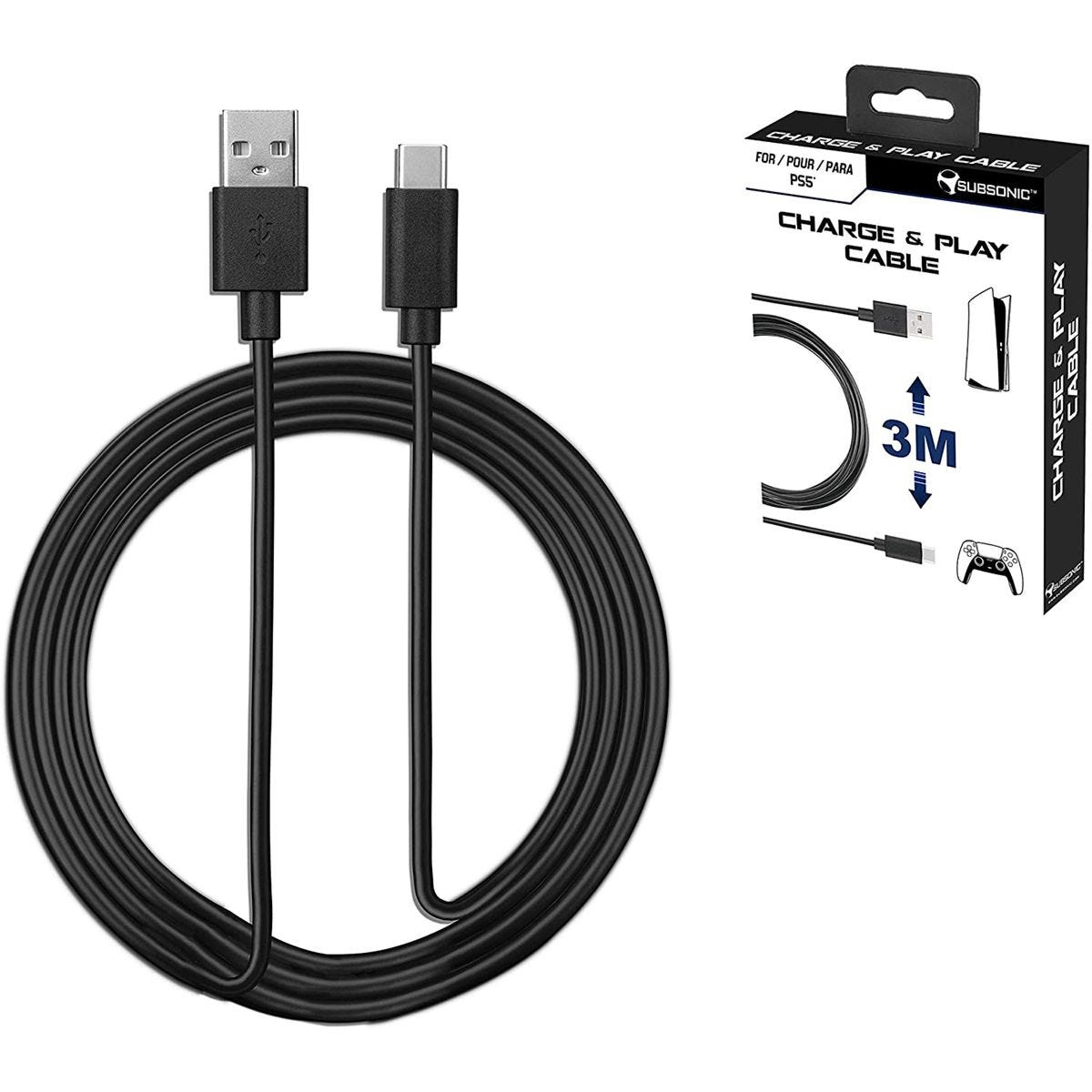 Subsonic USB C XXL 3m Charging Cable for PS5 Controller - Black