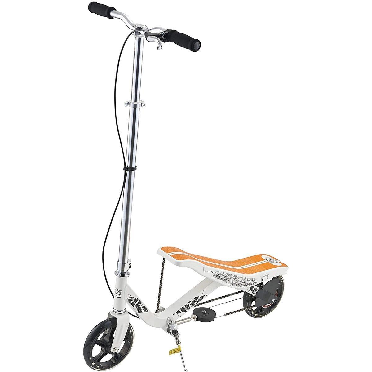 Rockboard RBX Kick Scooter with Flywheel, Air Pressure Damper, Brakes & Air Suspension - White