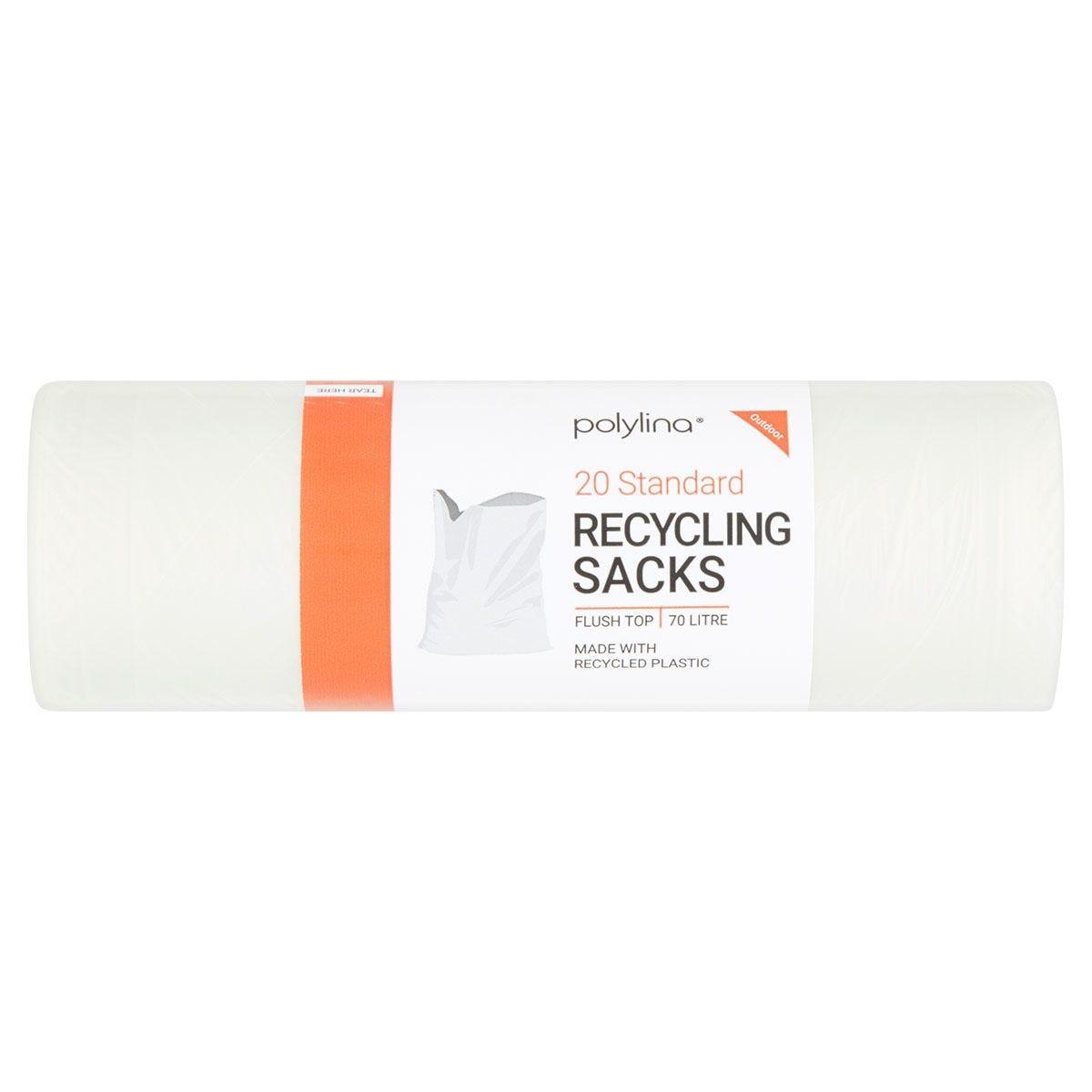 Polylina 70L Bin Recycling Sacks - Pack of 20