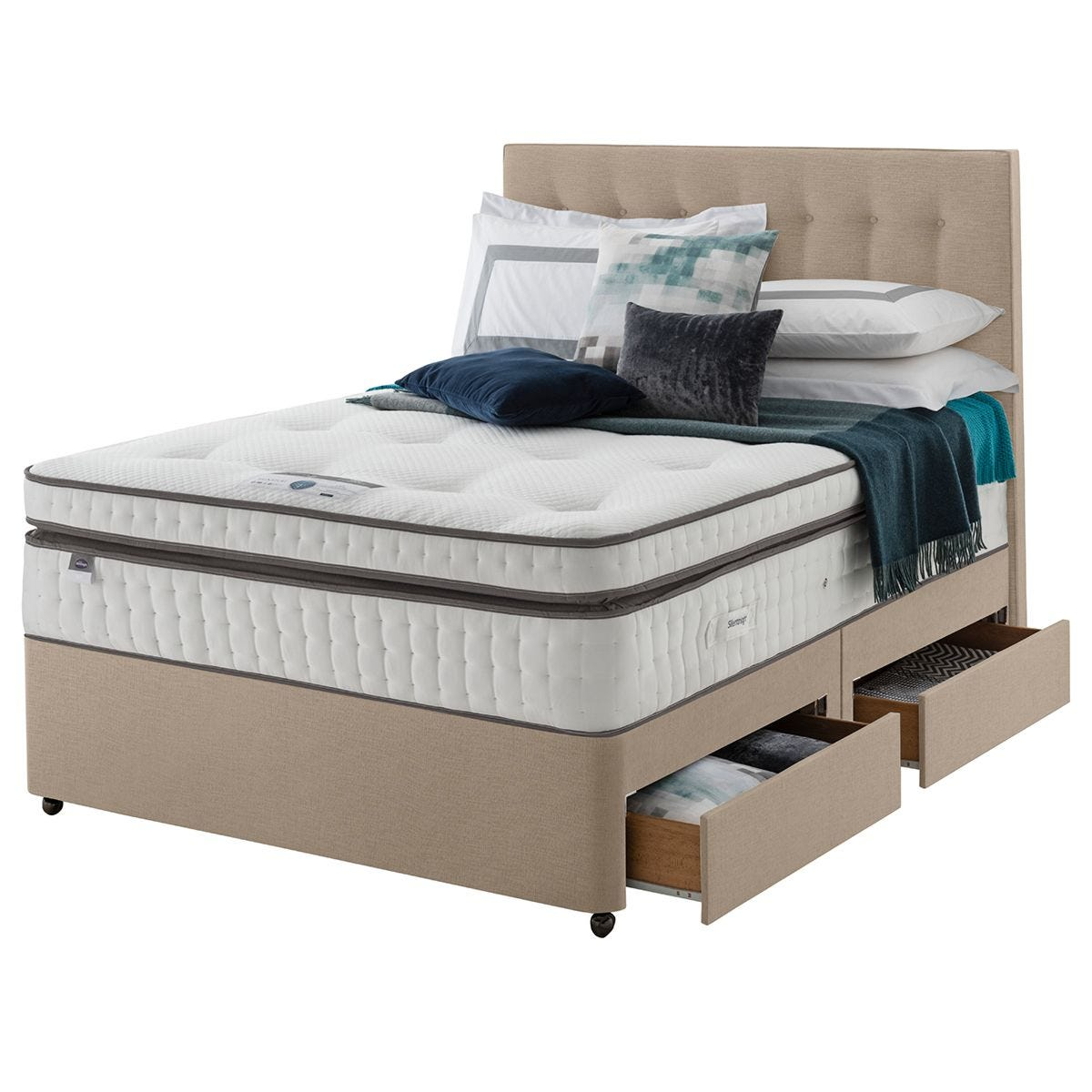Silentnight Mirapocket Geltex 2000 4 Drawer Divan Bed - Sandstone