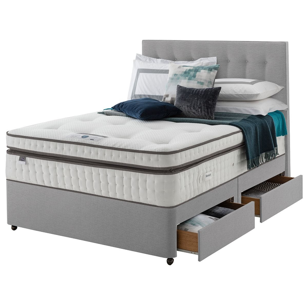 Silentnight Mirapocket Geltex 2000 4 Drawer Divan Bed - Grey