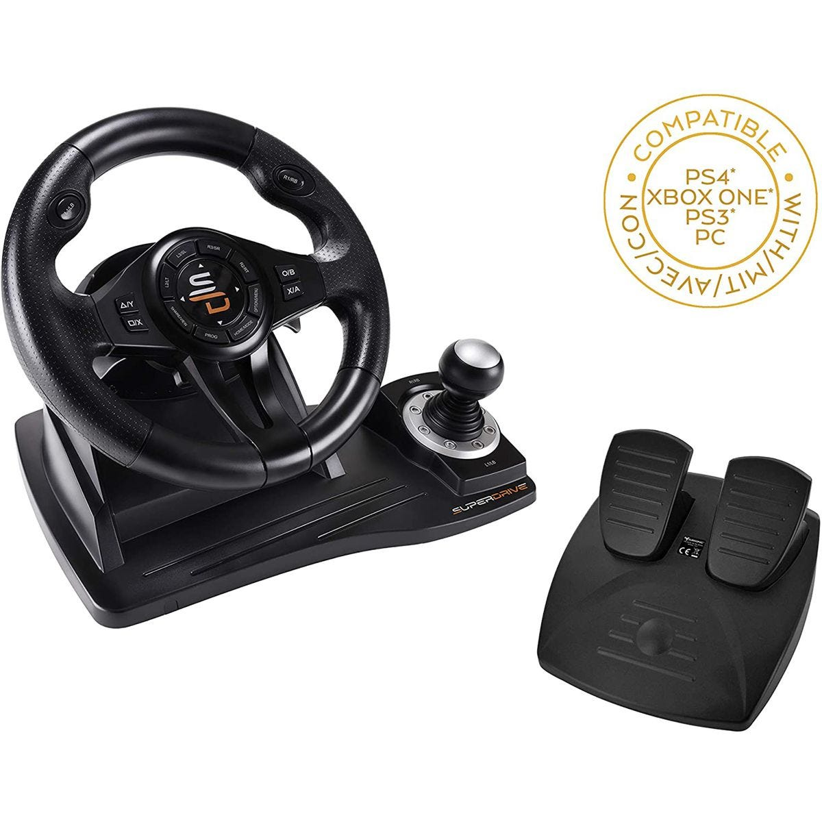 Superdrive GS500 Racing Wheel with Pedals for PS4, XBOX ONE, PC & PS3 - Black