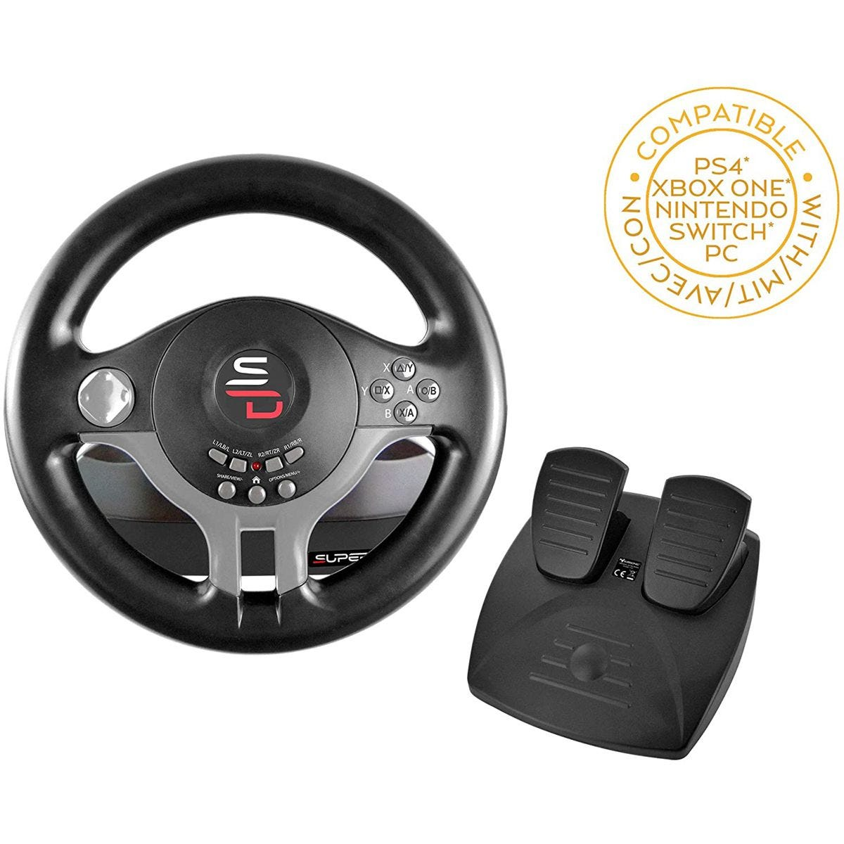 Superdrive SV200 Driving Wheel for Switch, PS4, Xbox One & PC - Black