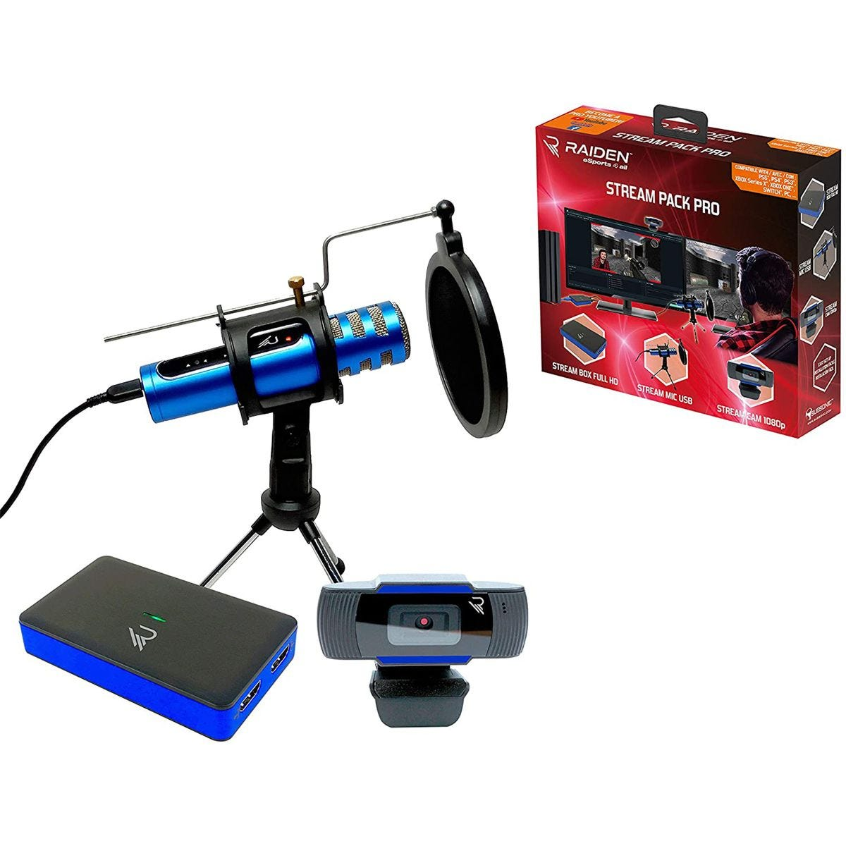Raiden Stream Pack Pro for Youtubers/Online Gamers - Blue/Black