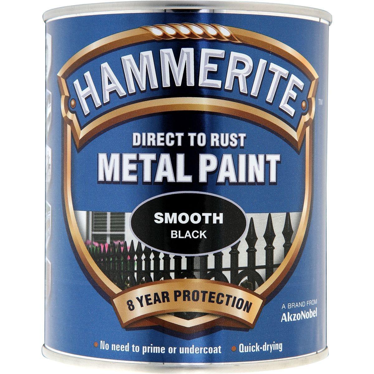 Hammerite Metal Paint Smooth Black - 250ml
