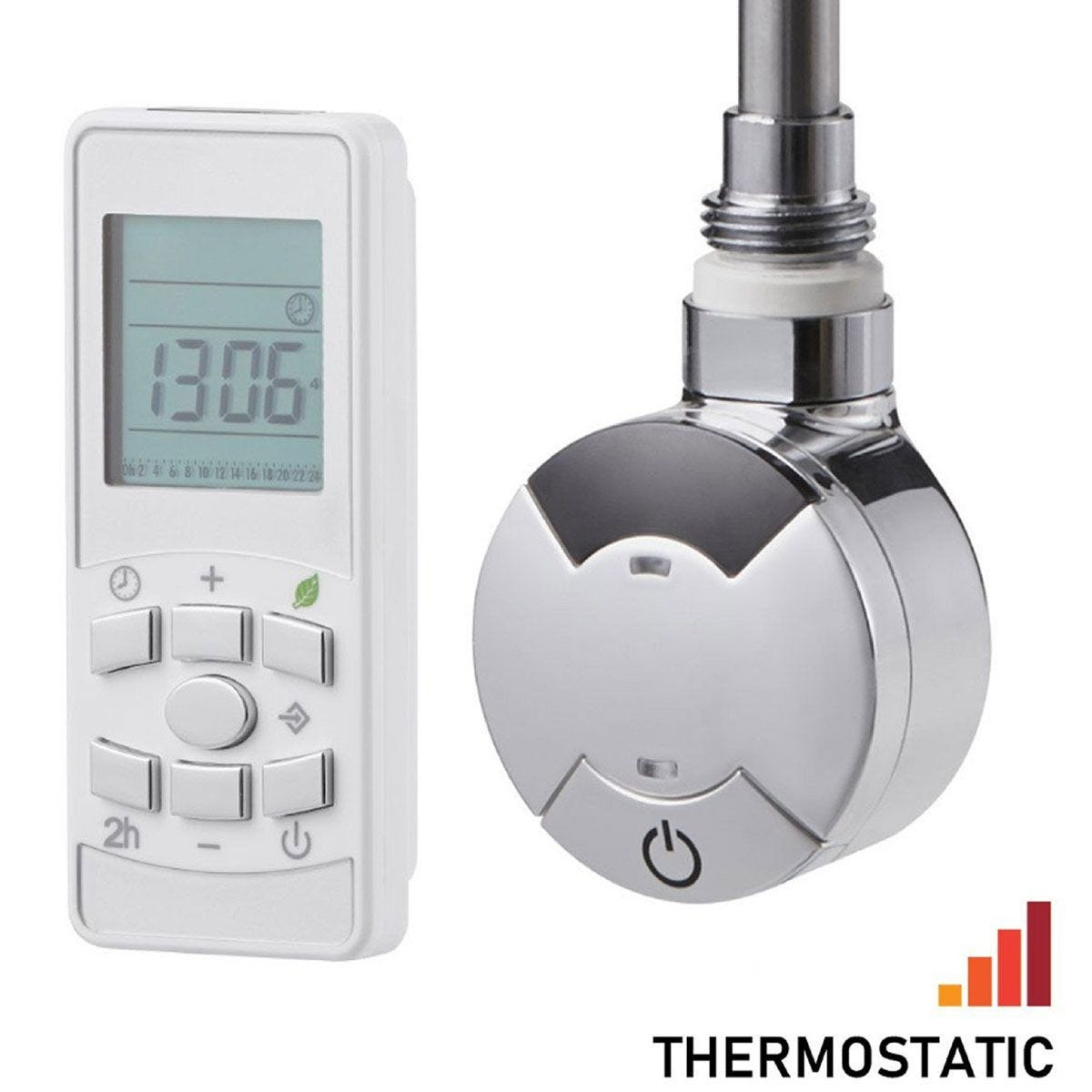 Heating Style Timed Remote Control Thermostatic 1000W Element + T-Piece - Chrome