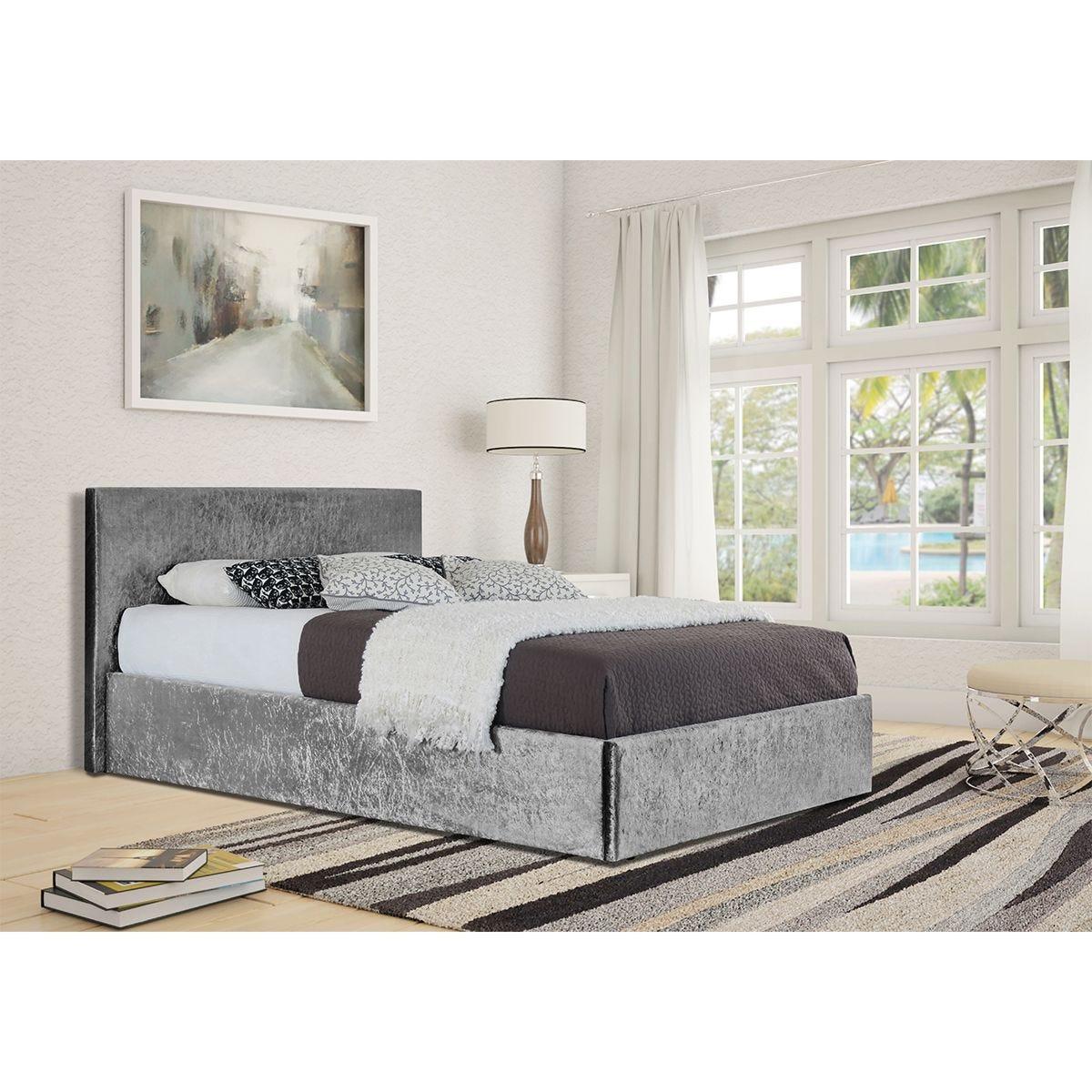 Theodore Ottoman Storage Bed - Silver
