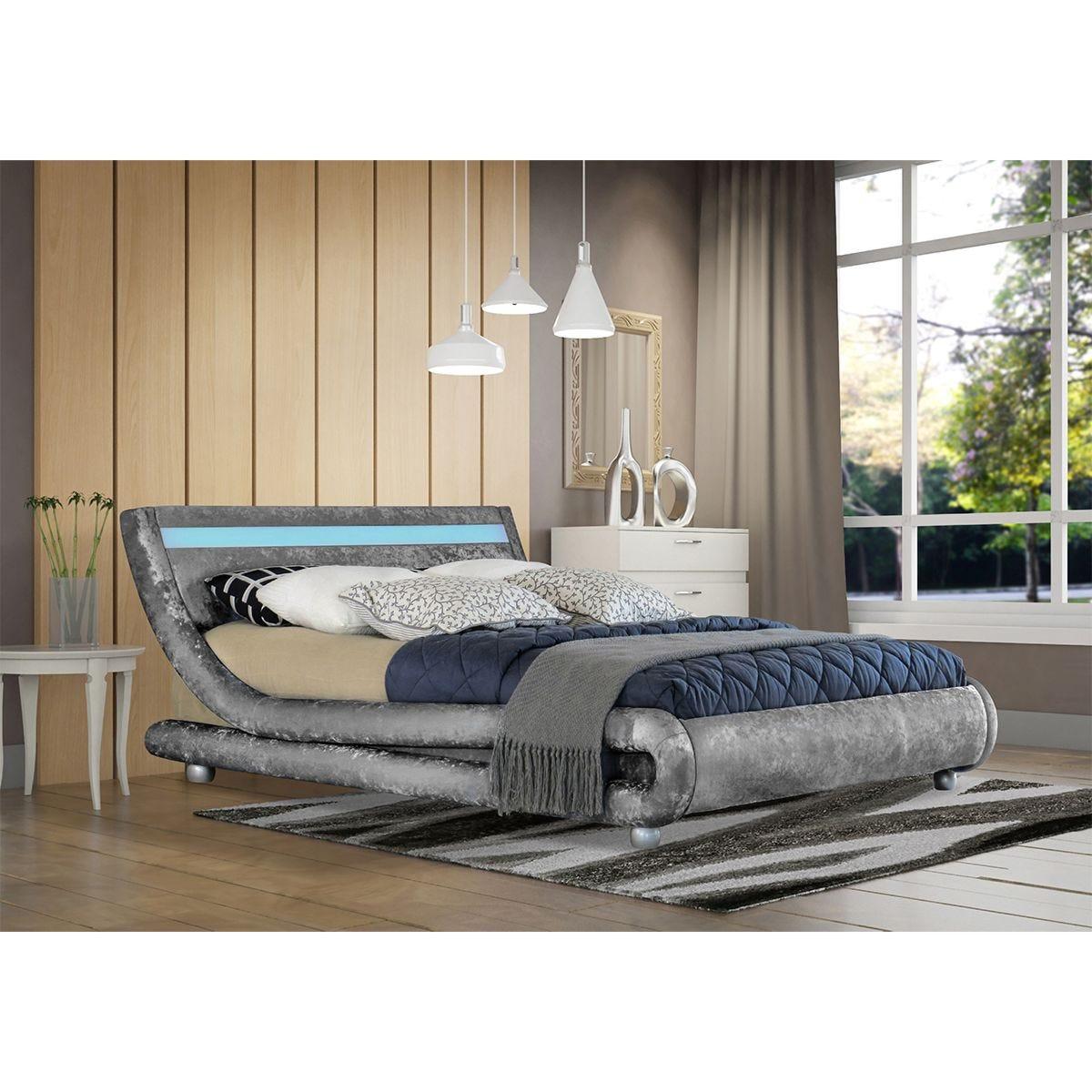 Elias LED Bed Frame - Silver