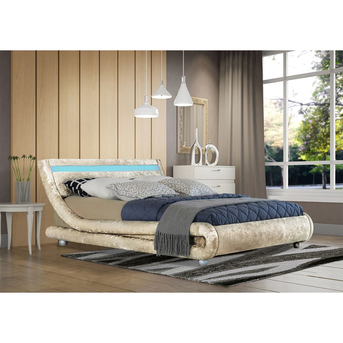 Elias LED King Bed Frame - Cream
