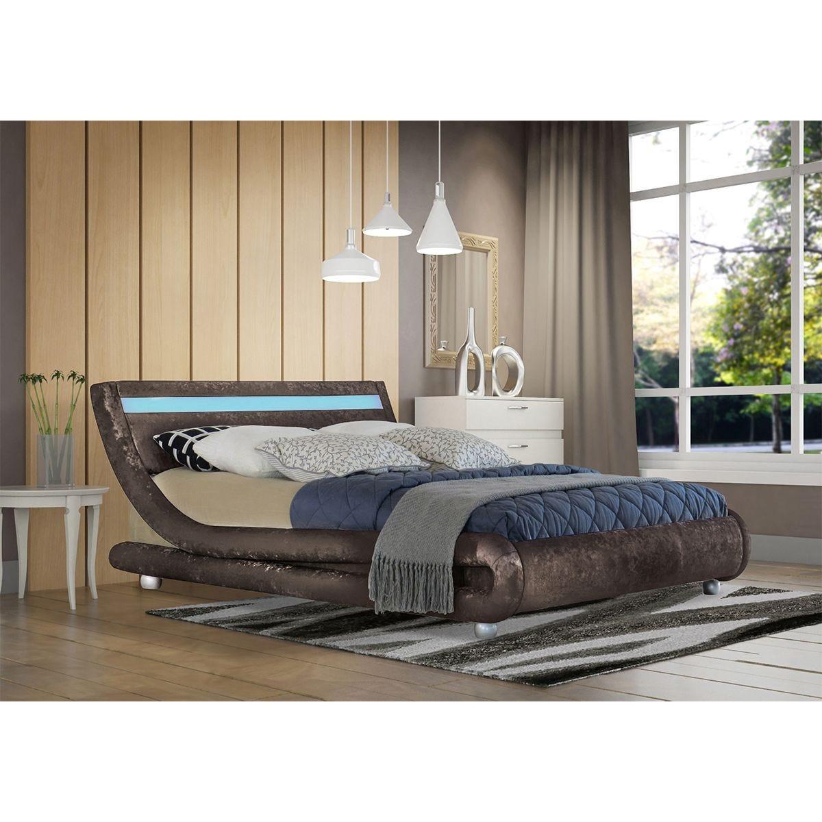 Elias LED Bed Frame - Brown
