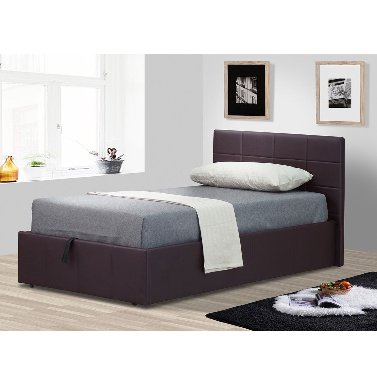 Ezra Ottoman Storage Single Bed - Brown