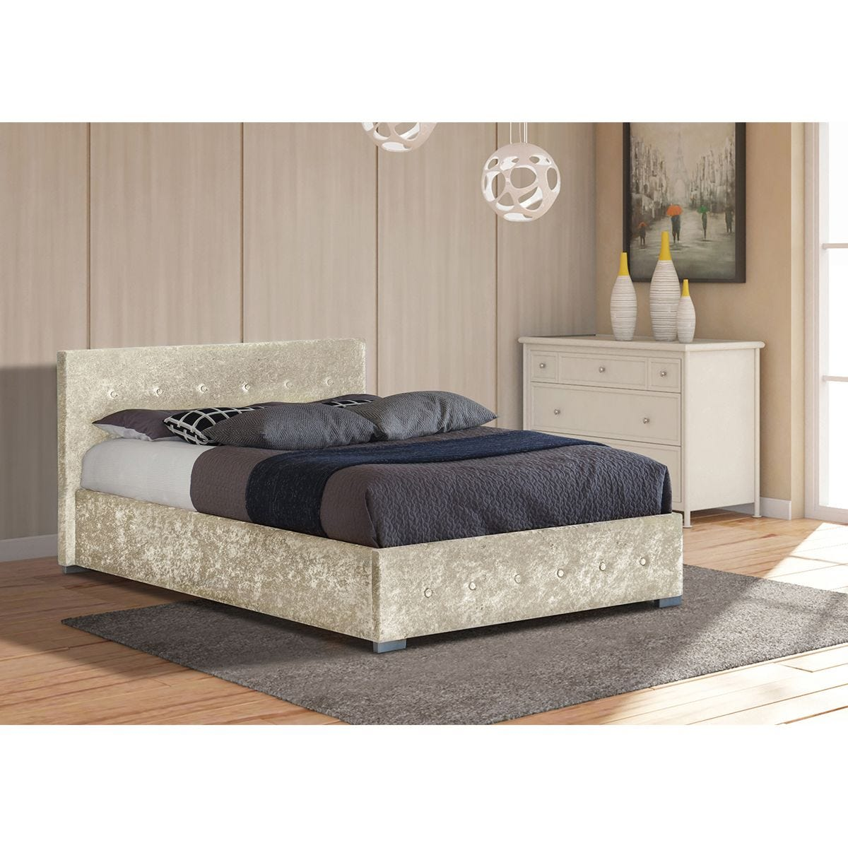 Albie Ottoman Storage Bed - Cream