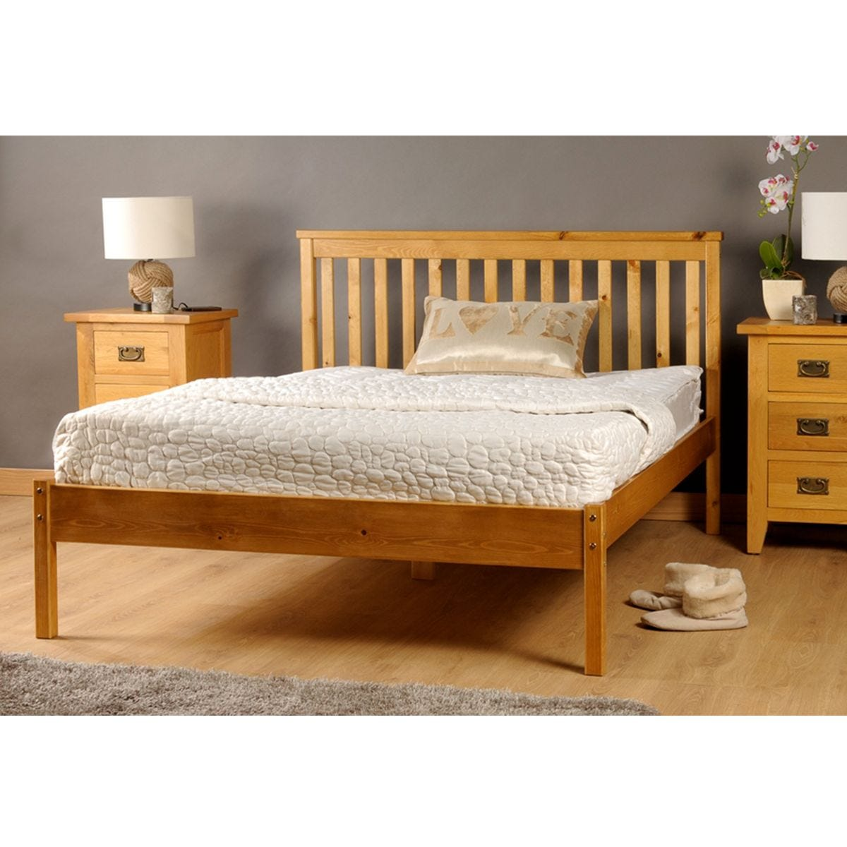 Riga King Bed Frame - Caramel