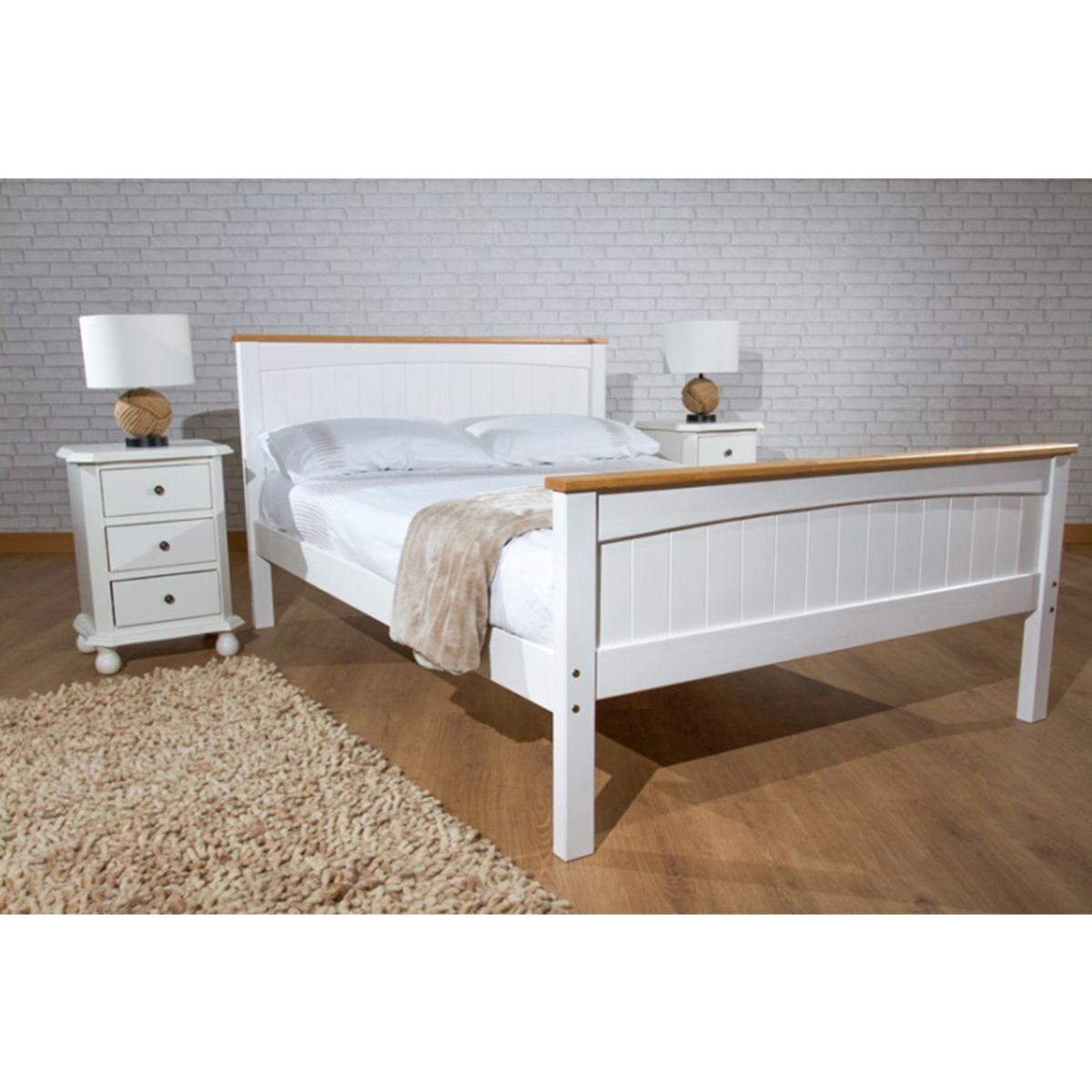 Dunte Bed Frame - White/Caramel Bar