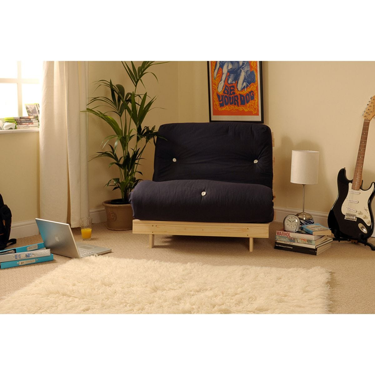 Albury Double Sofa Bed Set With Tufted Mattress - Black