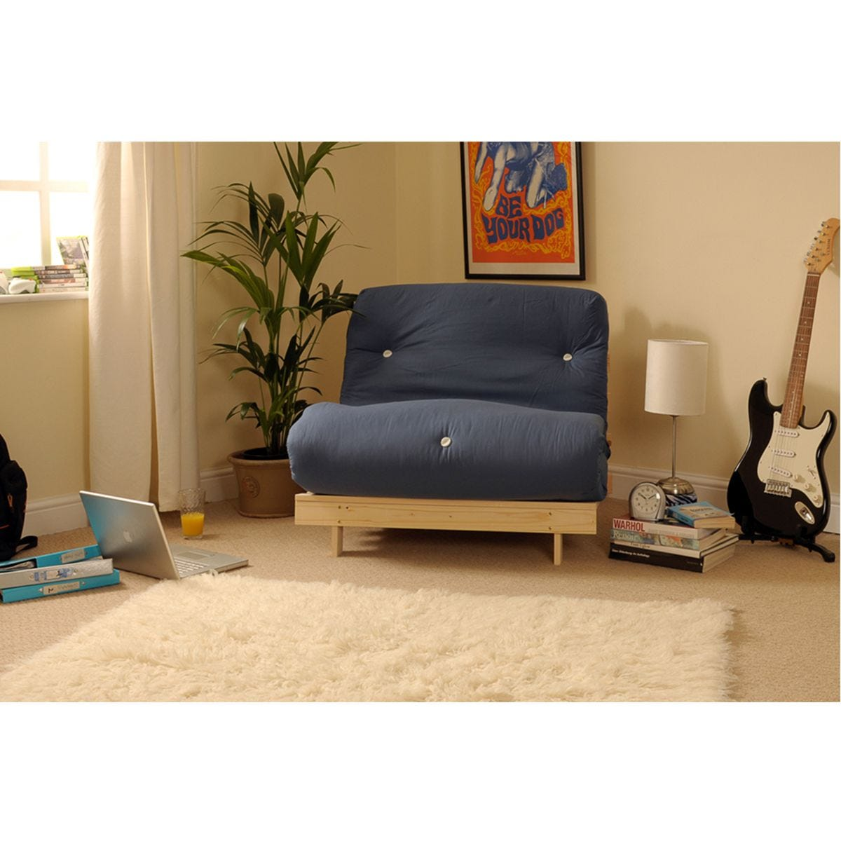 Albury Small Single Sofa Bed Set With Tufted Mattress - Navy