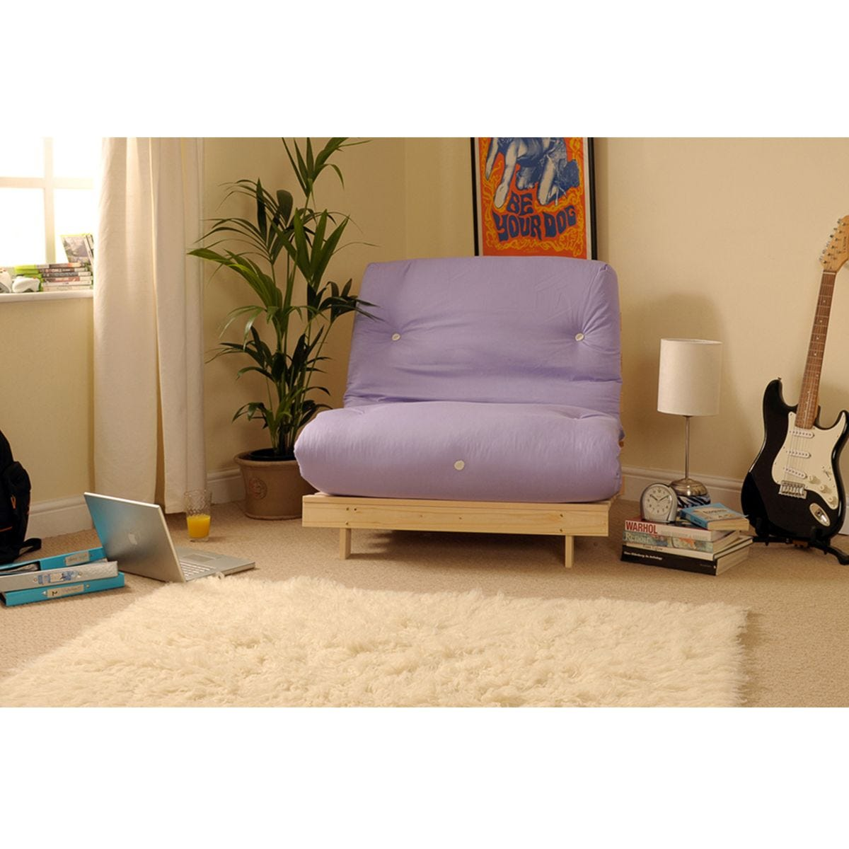 Albury Small Double Sofa Bed Set With Tufted Mattress - Lilac