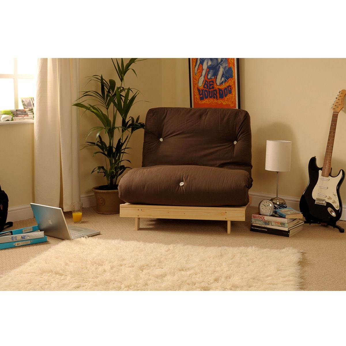 Albury Chocolate Futon Set With Tufted Mattress - Small Double