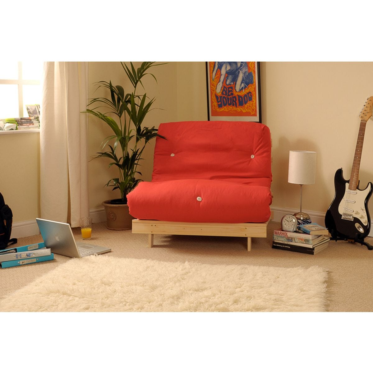 Albury Red Futon Set With Tufted Mattress - Small Double