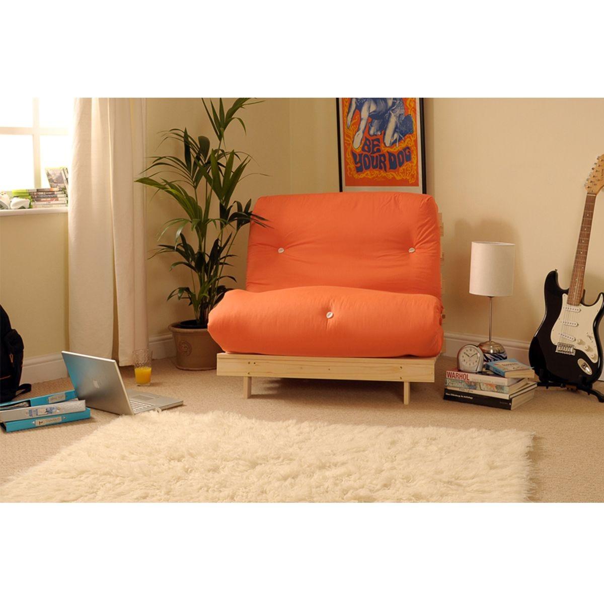 Albury Orange Futon Set With Tufted Mattress - Small Double