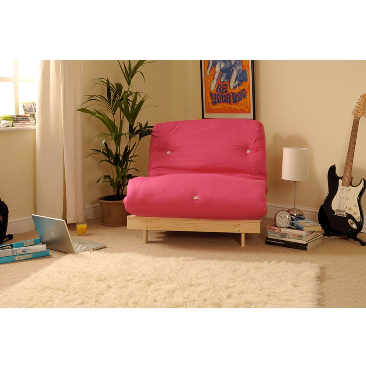 Albury Pink Sofa Bed With Tufted Mattress - Single