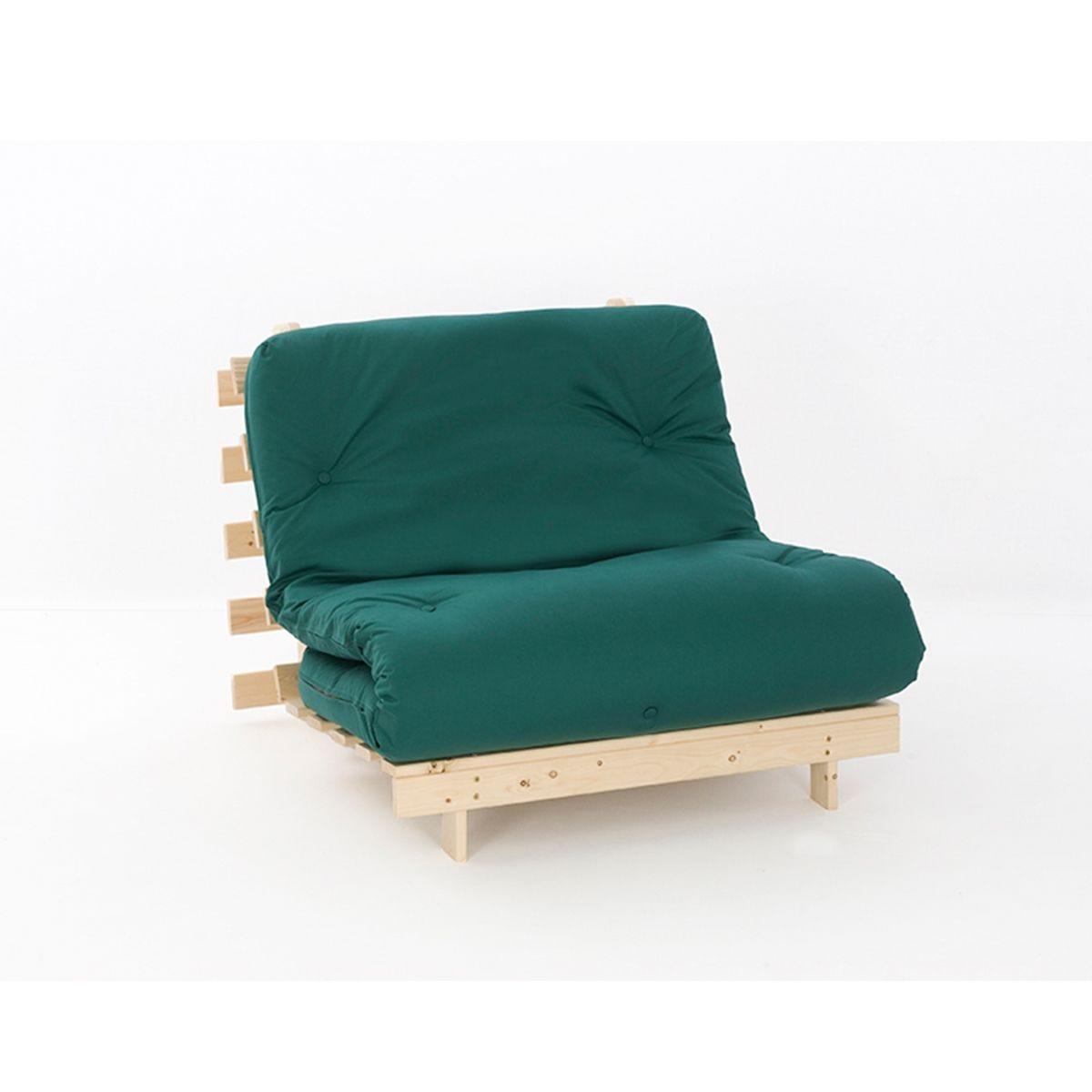Ayr Futon Single Set With Tufted Mattress - Green