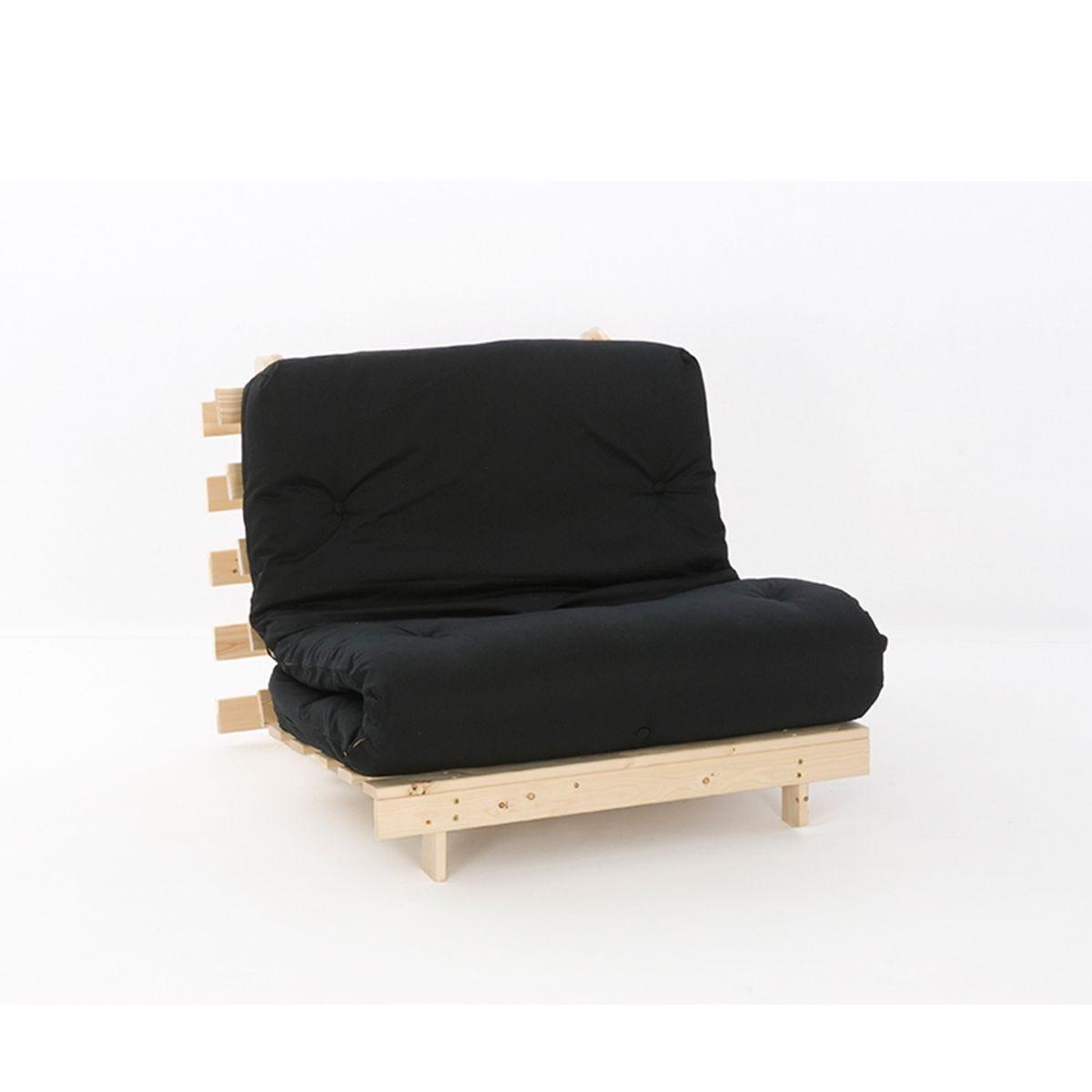 Ayr Futon Set With Tufted Mattress - Black