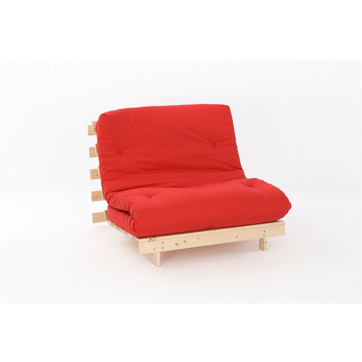 Ayr Futon Set With Tufted Mattress - Red
