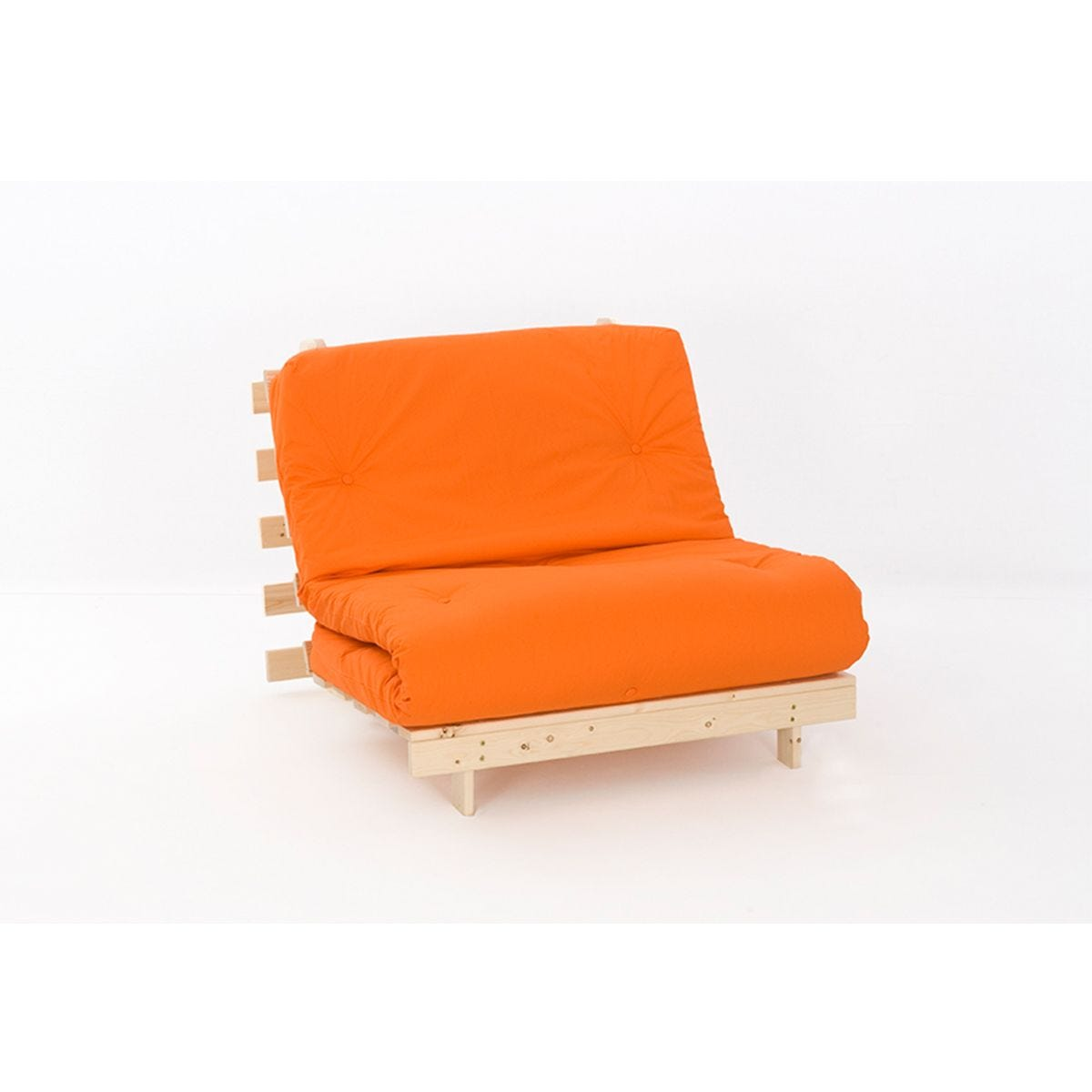 Ayr Futon Single Set With Tufted Mattress - Orange