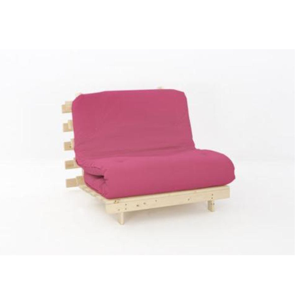 Ayr Futon Single Set With Tufted Mattress - Pink