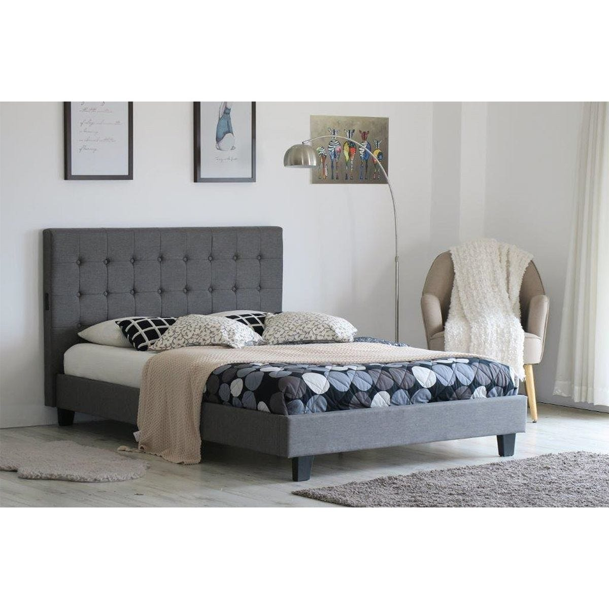 Lavella USB Bed Frame - Grey
