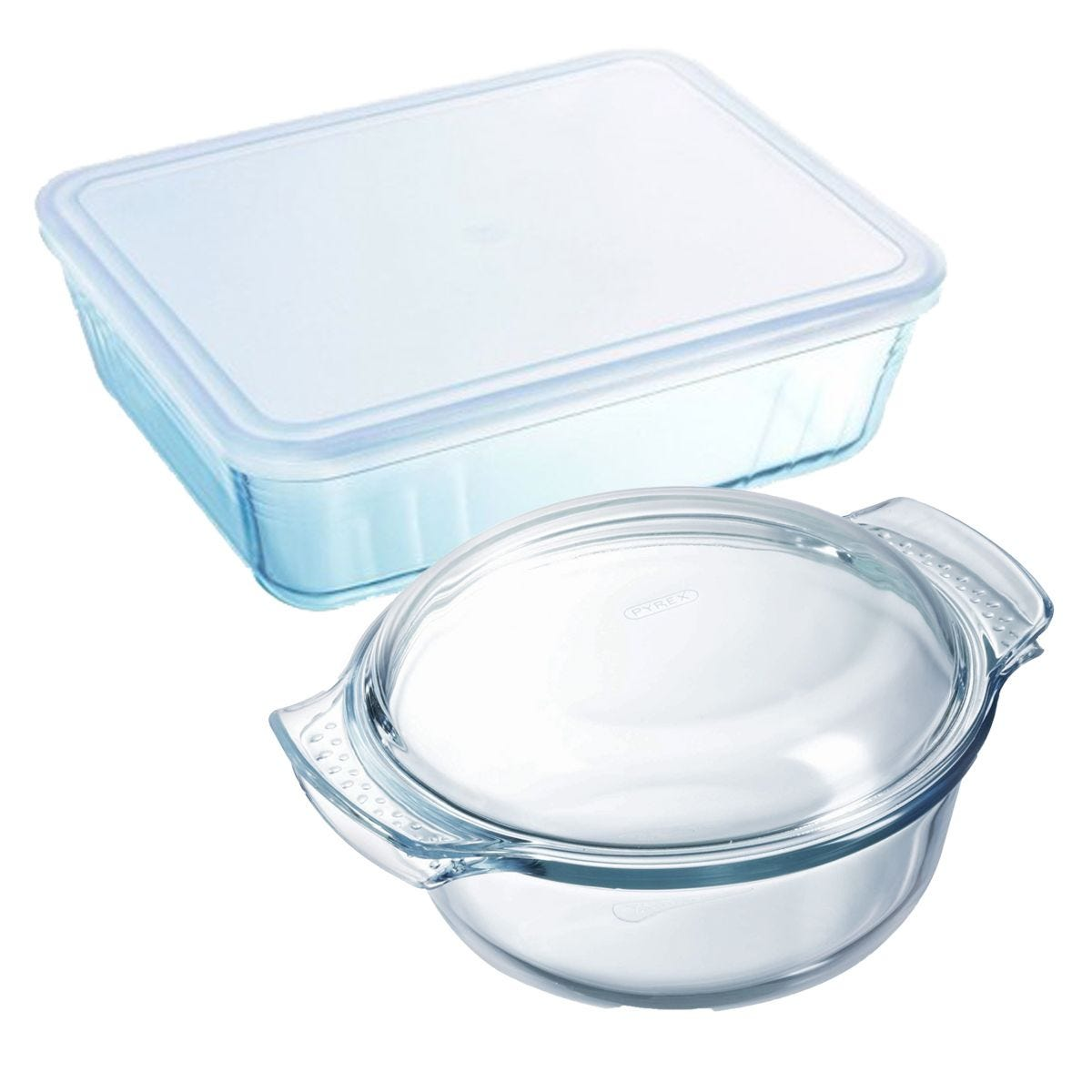 Pyrex Rectangular 2.6L Dish and Round 3.5L Casserole Dish