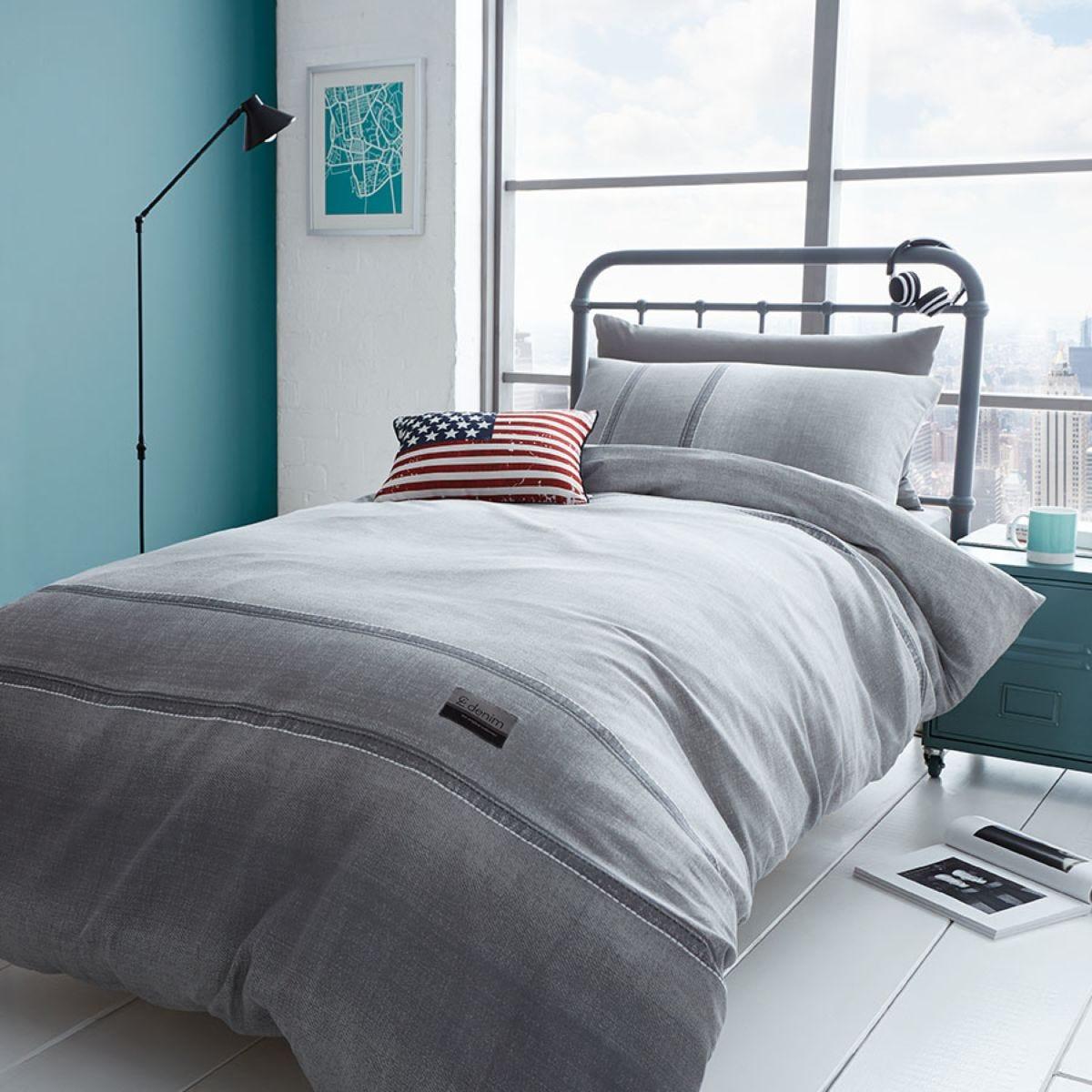 Catherine Lansfield Denim Bed Set - Grey