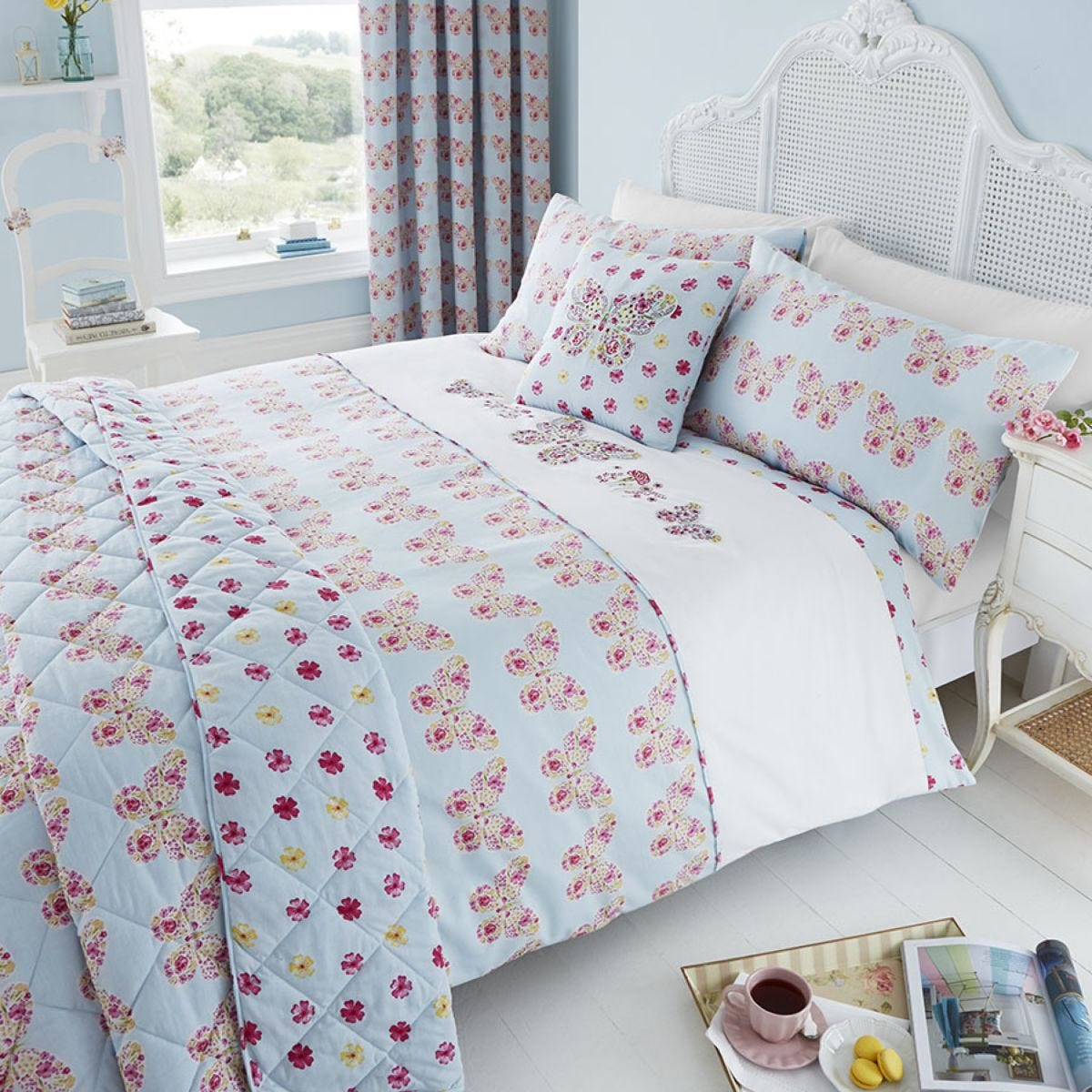 Catherine Lansfield Embroidered Butterfly Bed Set - Duck Egg