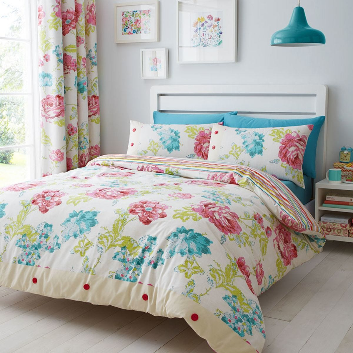 Catherine Lansfield Stab Stitch Floral Bed Set - Multi