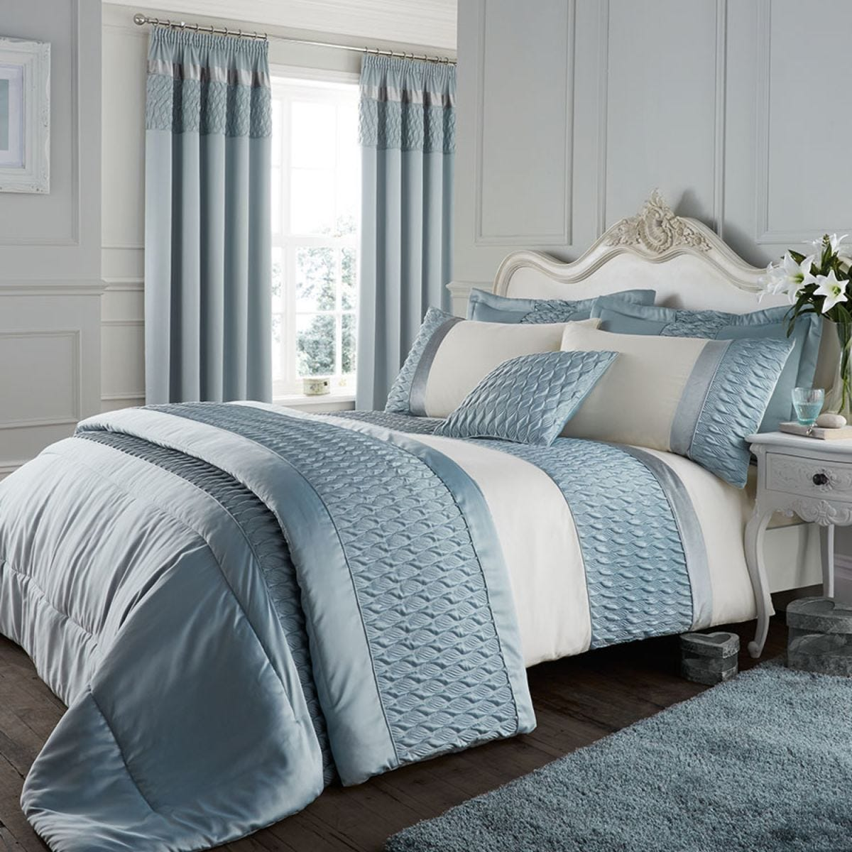 Catherine Lansfield Quilted Luxury Satin Bed Set - Duck Egg