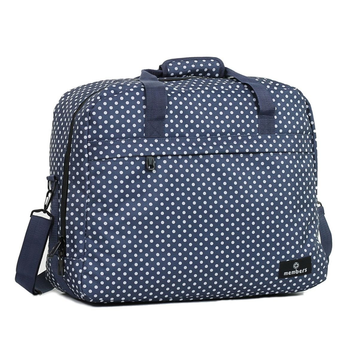 Members by Rock Luggage Essential Carry-On Travel Bag – Navy Polka Dots