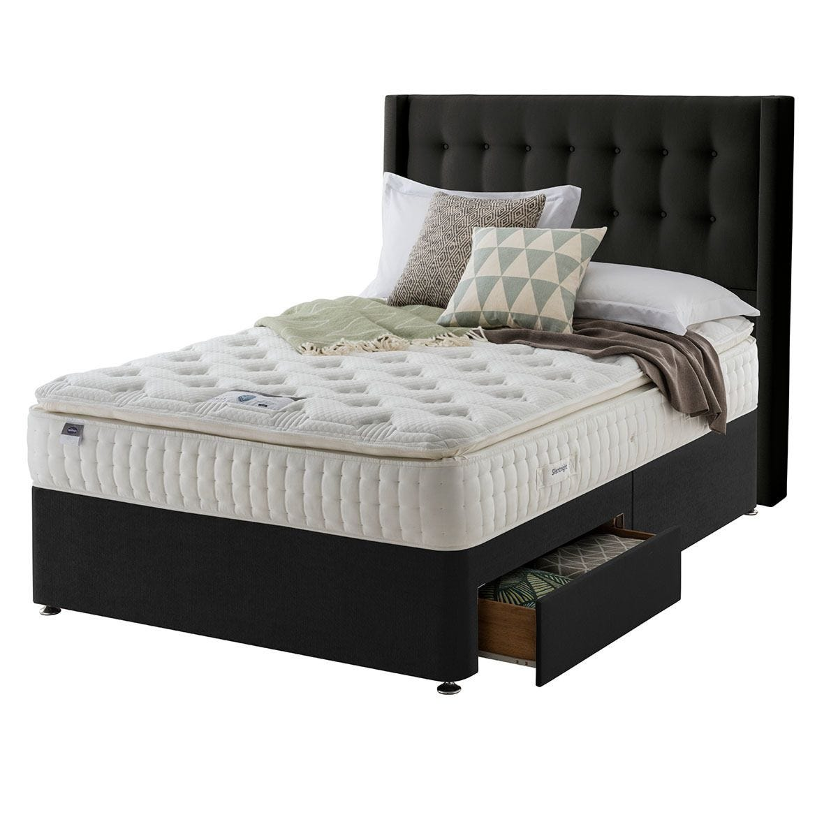 Silentnight Mirapocket Latex 1000 2-Drawer Divan Bed - Ebony King