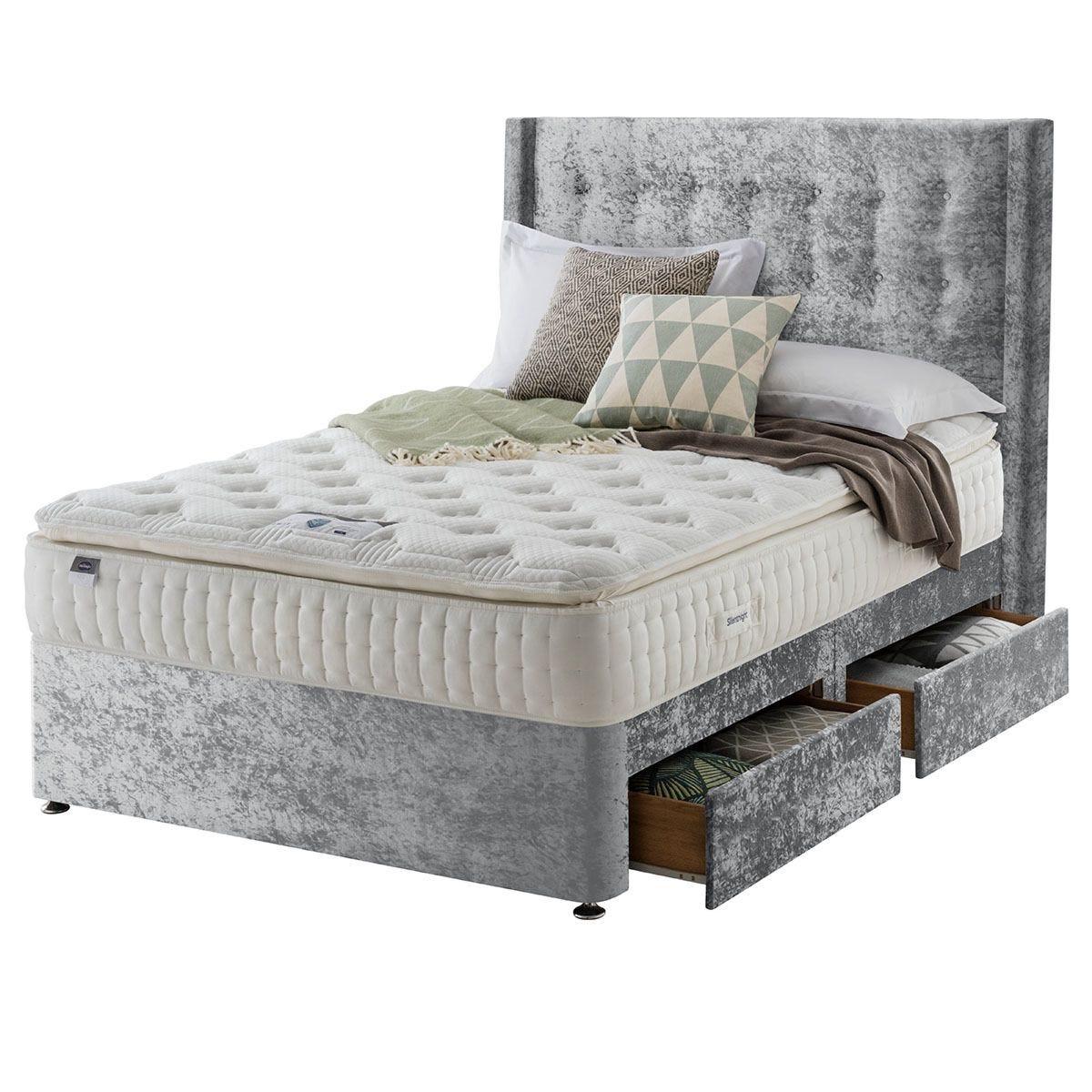 Silentnight Mirapocket Latex 1000 4-Drawer Divan Bed - Crushed Velvet Light Grey