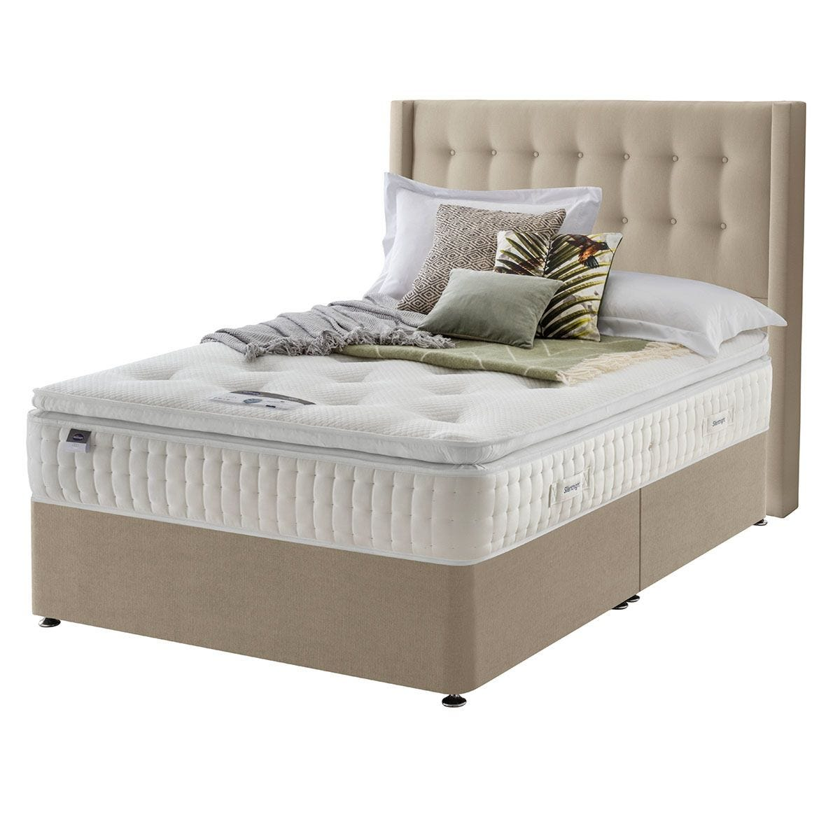 Silentnight Mirapocket Latex 1400 Non Storage Divan Bed - Sandstone Double