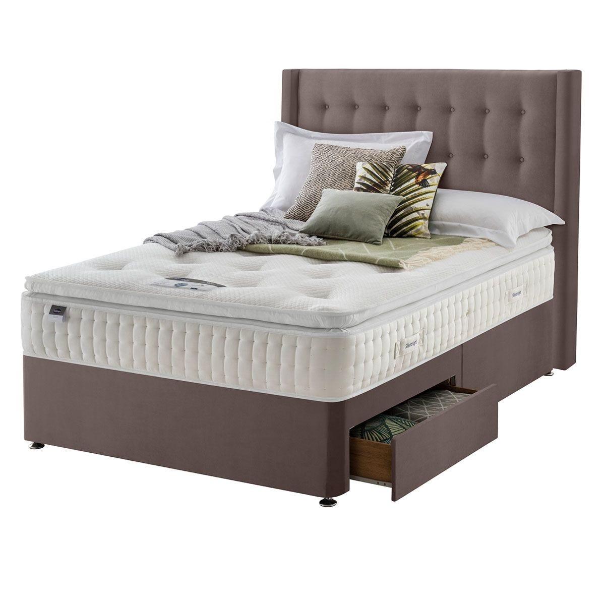 Silentnight Mirapocket Latex 1400 2-Drawer Divan Bed - Velvet Mink Double