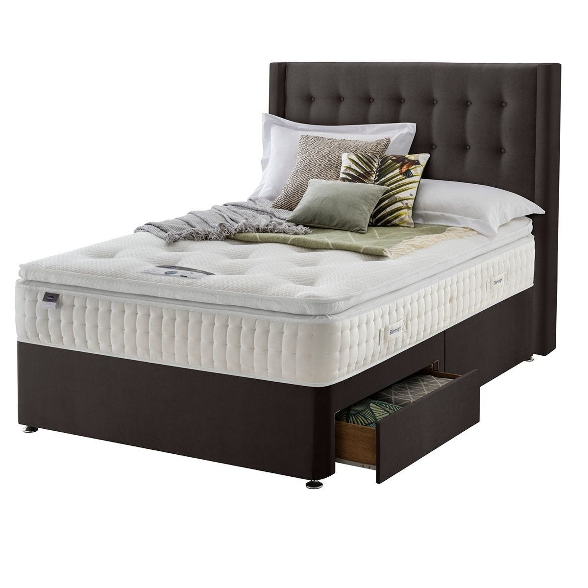 Silentnight Mirapocket Latex 1400 2-Drawer Divan Bed - Velvet Charcoal Double
