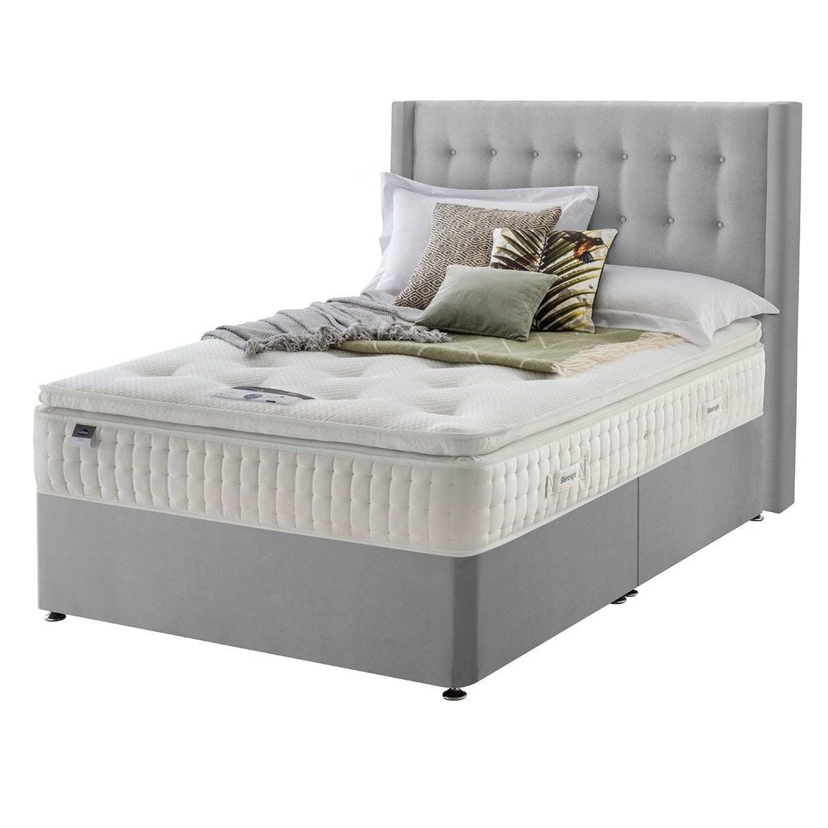 Silentnight Mirapocket Latex 1400 Non Storage Divan Bed - Velvet Silver Double