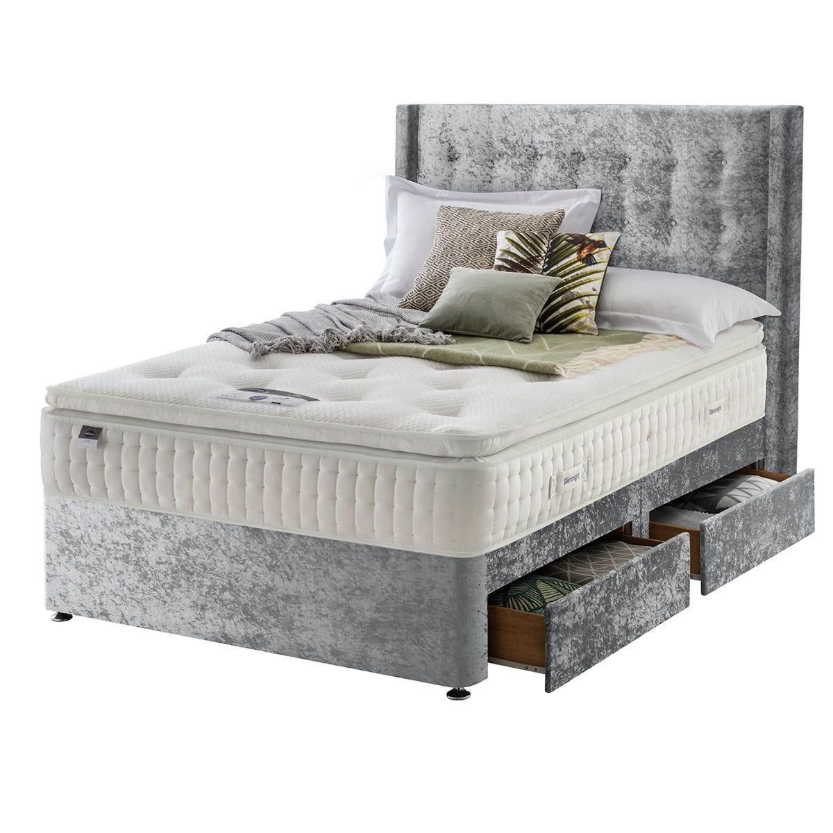 Silentnight Mirapocket Latex 1400 4-Drawer Divan Bed - Crushed Velvet Light Grey Double