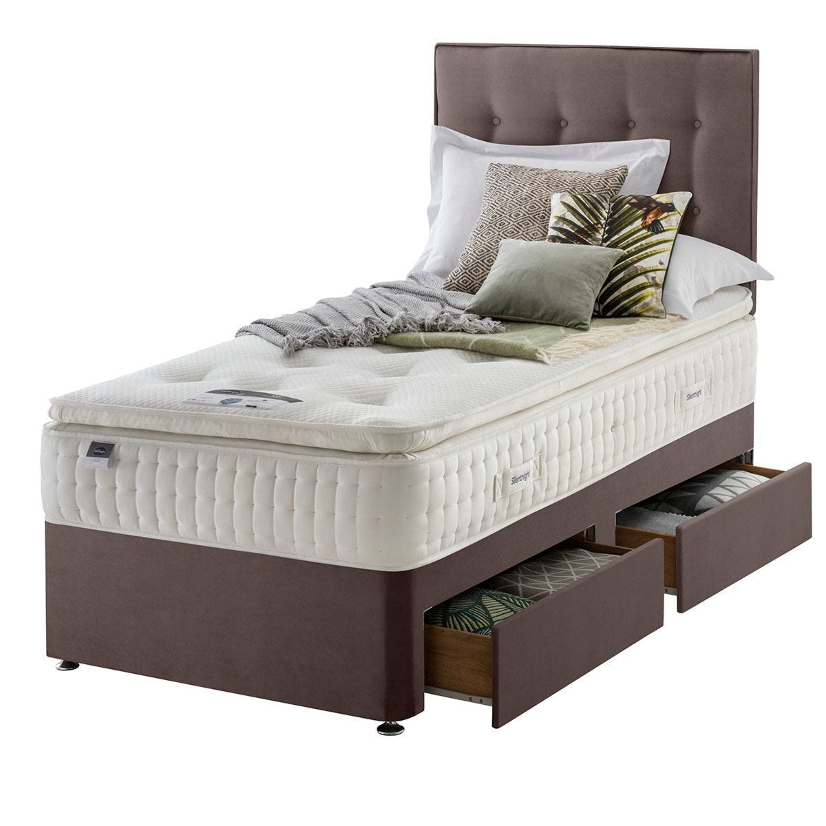 Silentnight Mirapocket Latex 1400 2-Drawer Divan Bed - Velvet Mink Single
