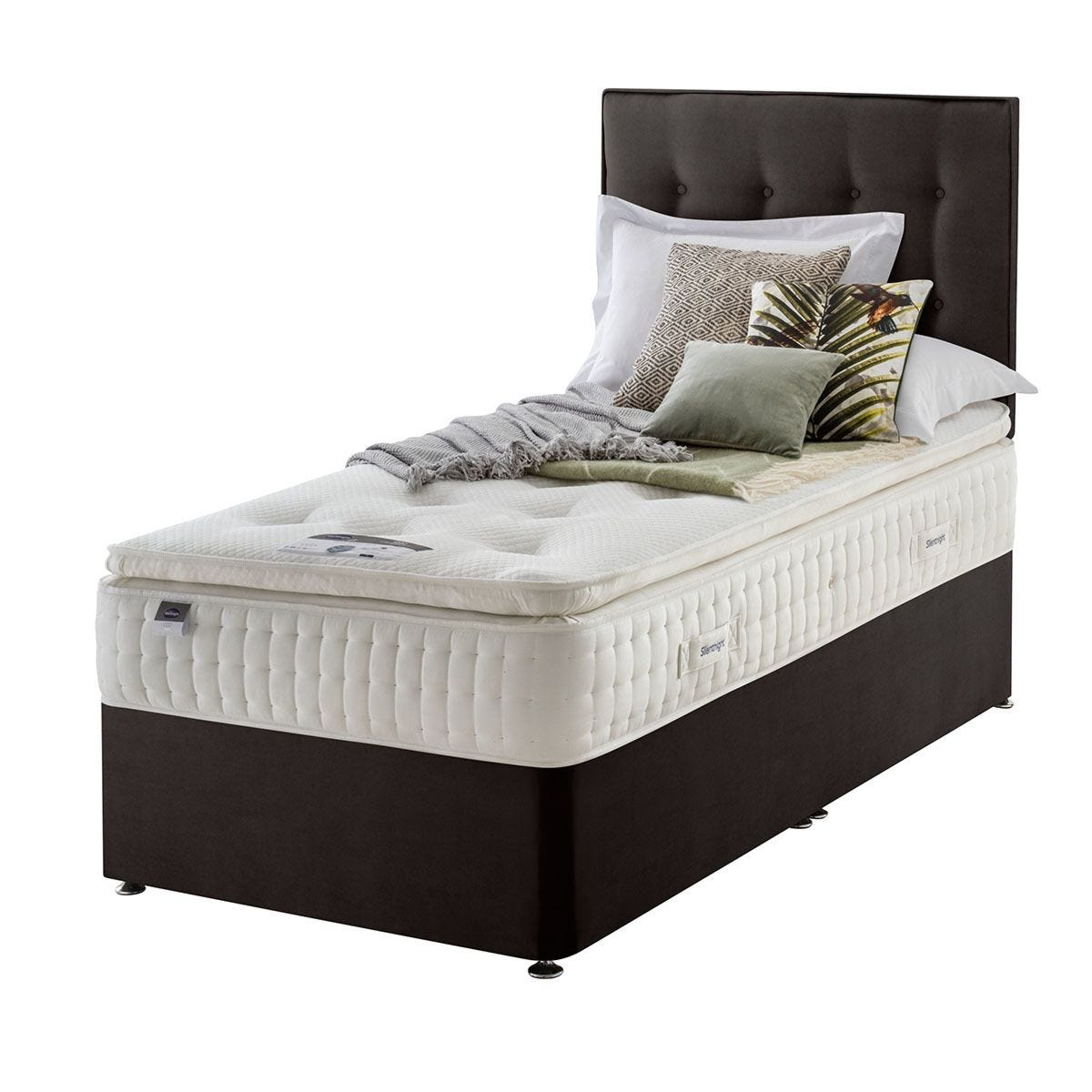 Silentnight Mirapocket Latex 1400 Non Storage Divan Bed - Velvet Charcoal Single